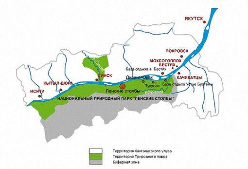"""Карта национального парка """"Ленские столбы"""""""
