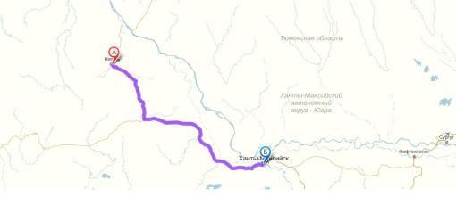 Маршрут от Ханты-Мансийска до Нягани