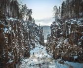 Скальное ущелье Уковского водопада. Иркутская область.