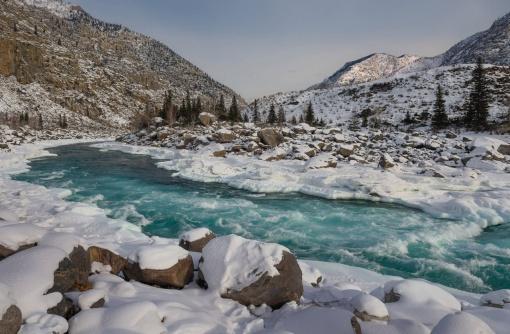 Катунь, зима, Горный Алтай, фото