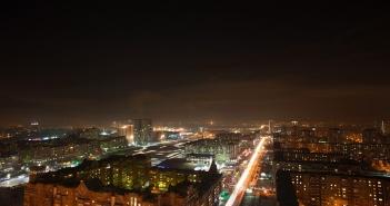 Ночной Красноярск с высоты.  Фото: Паша Парамонов