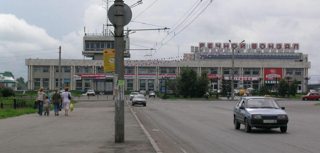 Барнаульский речной вокзал. Вид с проспекта Ленина