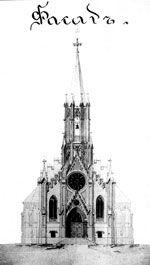 Проект каменного костела. Западный фасад. Архитектор И.Ф. Тамулевич. 1881 г.