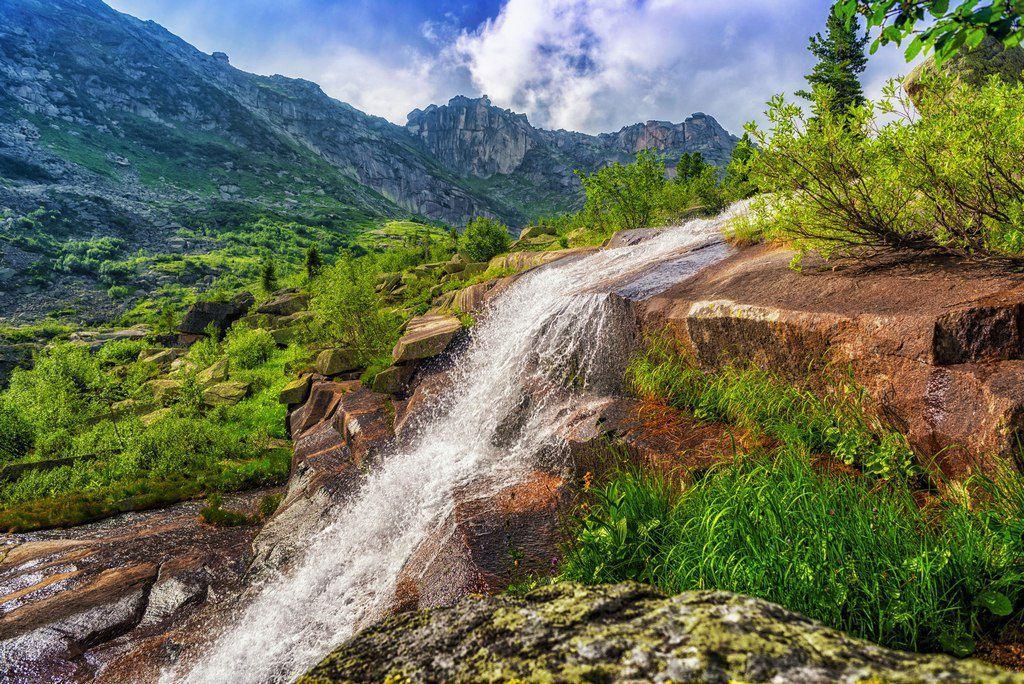 Водопад Мраморный, Ергаки, Фото